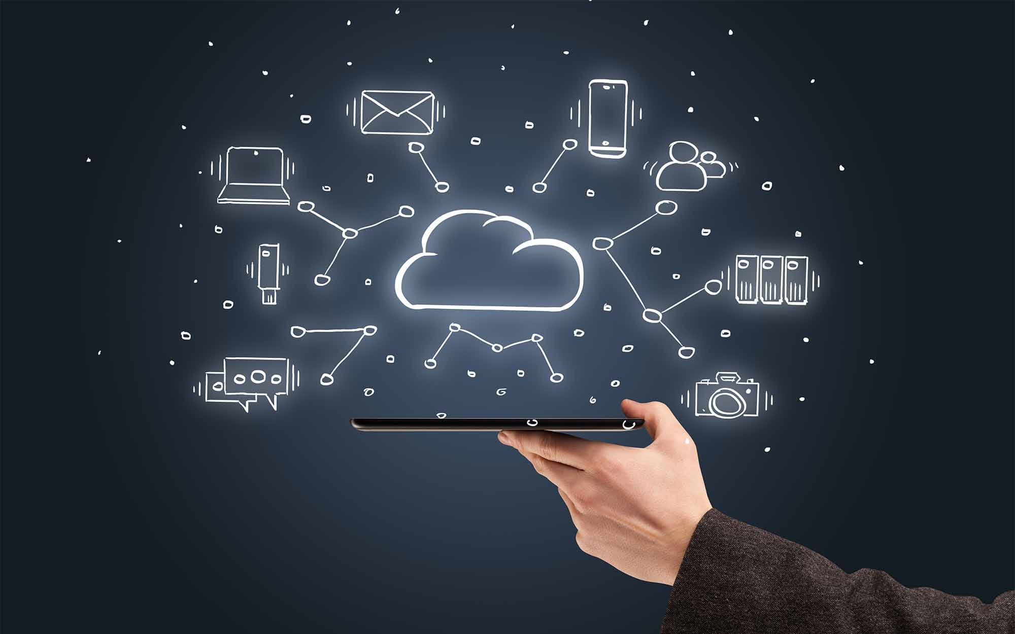 holding phone with various cloud icons