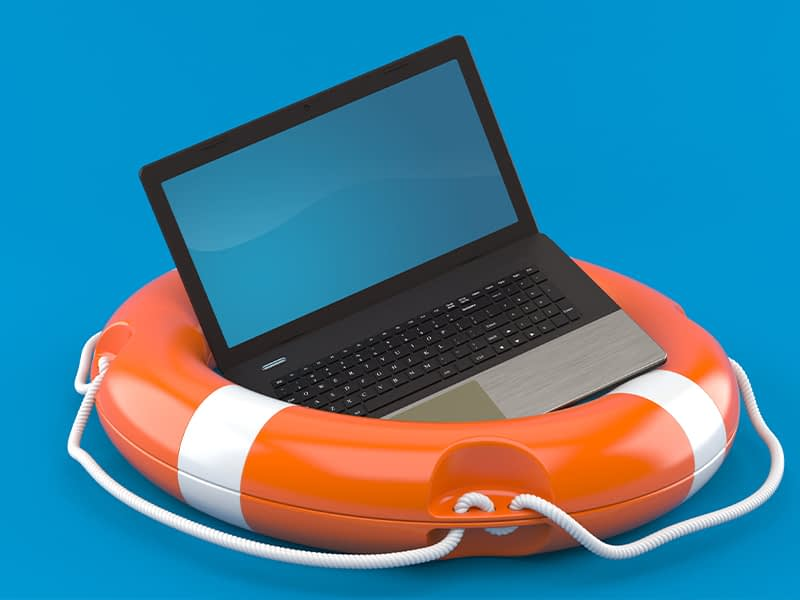 Affiliated Blogs Laptop with buoy